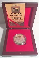 """2017 """"YEAR OF THE ROOSTER"""" 1 Oz Coin 999 Fine Silver Plated in Display Box, COA,"""