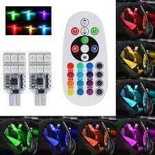 2 x 5050 RGB T10 194 168 W5W 12 LED Car Interior Wedge Side Light Remote Control