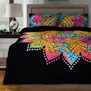 Ombre Boho Indian Duvet  Cover Set With 2 PC Pillows Cover Set Quilt Bedding Art