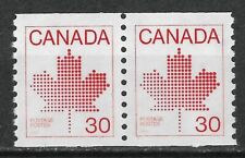 Canada 1982 30¢ coil. pair: stylized maple leaf. Unitrade 950 MNH