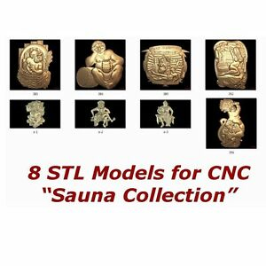 "8 3d STL Models - "" Sauna Collection "" for CNC artcam vectric aspire"