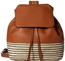 REBECCA MINKOFF PEBBLED LEATHER WEAVE STRAW FASHION ALMOND MANSFIELD BACKPACK
