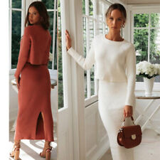 Knitted Suit Two Piece Set Autumn Winter Sweater Dress Elegant Lady Crop Sweater