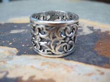 Sterling Silver Filigree Wide Floral Design Cigar Band Ring NEW Size 8