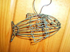 Rustic Hand Crafted Green Wire FISH Walleye 3-D Ornament*Pkg Top ~FREE SHIPPING~