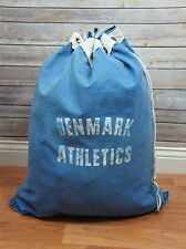 Vintage DENMARK ATHLETICS Canvas Gym Equipment Bag Sack Brass Grommets