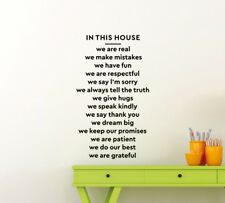 In This House We Are Real Wall Decal Family Quote Vinyl Sticker Home Decor 146ct