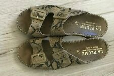 La Plume Women's Tan Genuine Leather Snake Print Slip-Ons Sandals Size 7M / 37