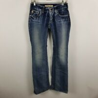 3246212507a Big Star Casey K Low Rise Fit Flare Womens Dark Wash Blue Jeans Size 27-