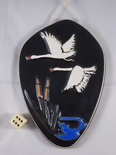 50s Ceramics Wall Picture Flying Swans Rockabilly Age Signed