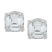 Outstanding 2.00 CTW Asscher Diamond Earrings  Set 18K White Gold GIA certified