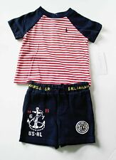 Ralph Lauren Baby Boys Striped Cotton Tee & Shorts Set Red Multi Sz 3M - NWT