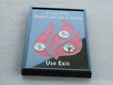 In Case Of Fire Elevators Are Out Of Service Use Exit Thick Glass Sign Framed