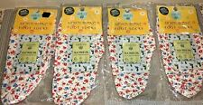 Earth Therapeutics Foot Socks 4 Pairs White With Flower Print