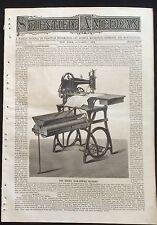 1876 Scientific American  newspaper BOOKBINDING MACHINE ENGRAVING Singer Sewing