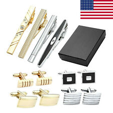 US 12pcs Mens Stainless Steel Crystal Cufflinks + Tie Necktie Clasp Pin Clip Set