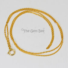 """18K SOLID YELLOW GOLD Petite Cable Chain Necklace 18"""" Length"""