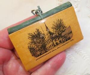 c1880 Antique Mauchline Ware Needle Book Case INDEPENDENCE HALL Philadelphia PA