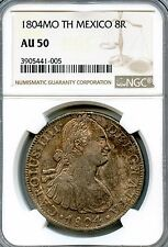 1804 MO TH Mexico Silver 8 Reales NGC GRADED AS AU50 KM#109