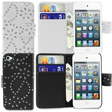 Apple iPod Touch 4 4th Gen Flip Wallet Diamond Bling Leather Book Case Cover