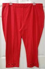 Susan Graver Weekend 2X Coral Red Ankle Crop Pants Leggings Slip On Capris
