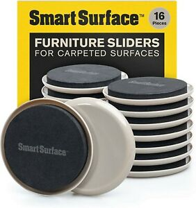 """Smart Surface Furniture Sliders for Carpet - 16 Pack - 3.5"""" Round 