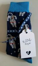 Men's Blue Space Astronort Socks with Ribbon and Gift Tag! A Perfect Gift!
