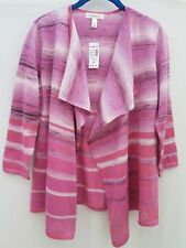 Dressbarn Sweater Cardigan Open Draped Pink Ombre Multi NWT sz M Bust 40""