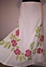 Per Una White linen & cotton panelled applique boho skirt size 18 bnwt