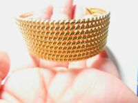 Signed Avon Bead Wide Gold Tone Metal Chain Textured Metal Cuff Bracelet Vintage