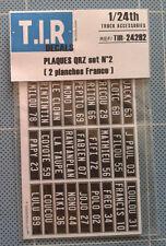 2 PLANCHES EN PAPIERS DE PLAQUES QRZ #2 (FRANCE) , ACCESSOIRES CAMIONS 1/24e