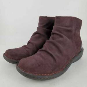 Clarks Artisan Womens Avington Swan Ankle Boots Purple Flat Heel Zipper 8.5 M