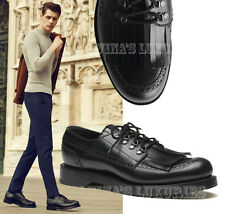 $990 GUCCI MENS SHOES LEATHER FRINGED BROGUE LACE-UPS 8 / 8.5D / 42