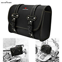 Motobike Motorcycle Tail Saddle Bags Storage Pack Luggage PU Leather Side Bag