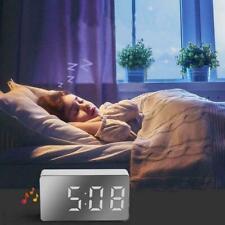 Digital Alarm Clock Led Mirror Snooze Display Time Lcd Table Desktop Light NEW
