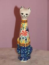 Polish Pottery Med Cat Figurine! UNIKAT Signature Butterfly Summer!