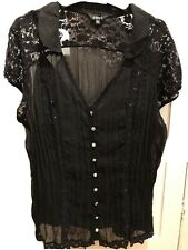 black top size 18 With Cami Jewelled Lace Goth Halloween Party