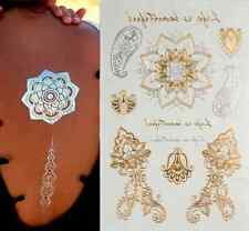 Beauté body art: Tatouages temporaires motifs design mandala life is beautiful