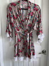 9d7562f70e02 Pink Blush Floral Lace Maternity   Nursing Robe S Roses