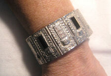 "Rarely Seen - Galbani ""Made In The USA"" - Aztec Design Black Jet Link Bracelet"
