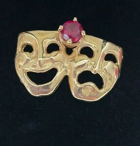 Vtg 14K Gold Theater Happy Sad Tie Tack Pin Hat Lapel w/Ruby accent RARE 3.2g