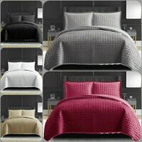 New Embossed Quilted Bedspread Bed Throw Comforter BeddingSet Single Double King