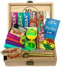 More details for jumbo wooden rolling box set stash box doob tube set rolling paper package