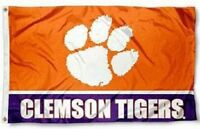 Clemson Tigers Flag with Purple Banner Large 3'X5' NCAA FREE SHIPPING