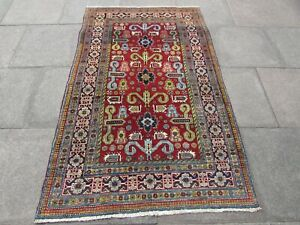 Fine Vintage Hand Made Rug Traditional Caucasian Oriental Wool Red Rug 205x125cm