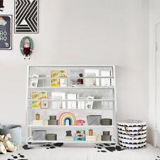 Kids Display Shelf 5-tier Wide Metal Bookshelf Magazine Rack Organizer White