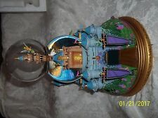 Disney Musical Snow Globe CINDERELLA CASTLE TINKER BELL FLIES PETER PAN W/BOX