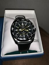 SEIKO PROSPEX KINETIC GMT 5M85 BLACK DIAL LEATHER BAND WATCH SUN057
