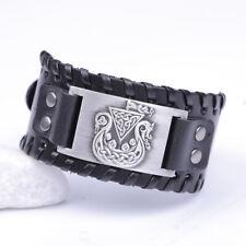 Viking Dragon Head Pirate Ship Celtic Knot Leather Bracelet Cuff Bangle for Men