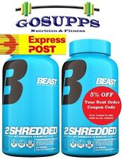 2 x Beast Sports 2 SHREDDED  60 Vegetable Cap Thermogenic Fat Burner Hydroxycut